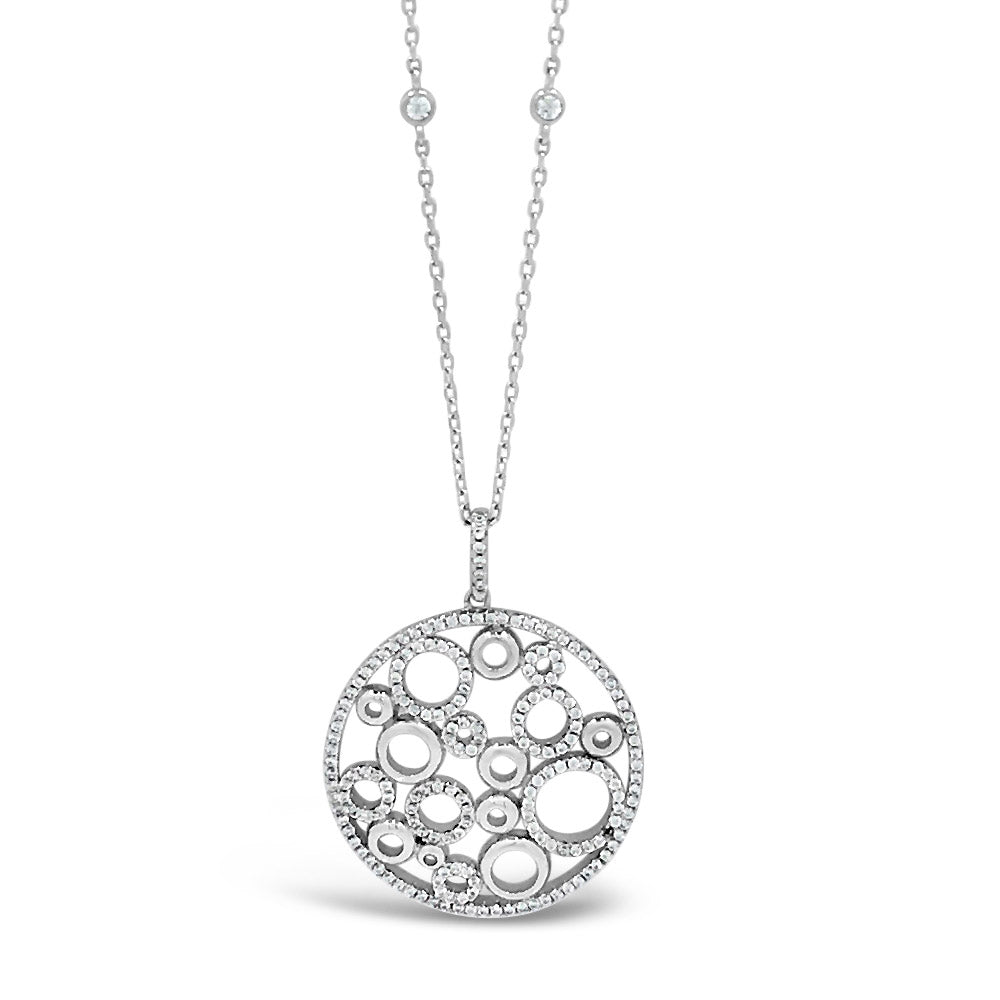 Tia Diamante Circles Sterling Silver Medium Length Pendant