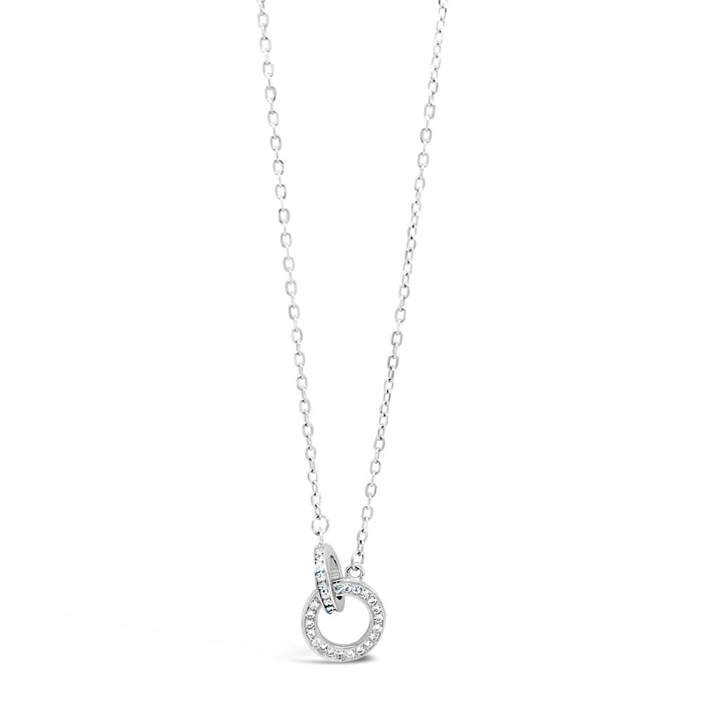 Lilah Inter-Circle Sterling Silver Diamante Pendant