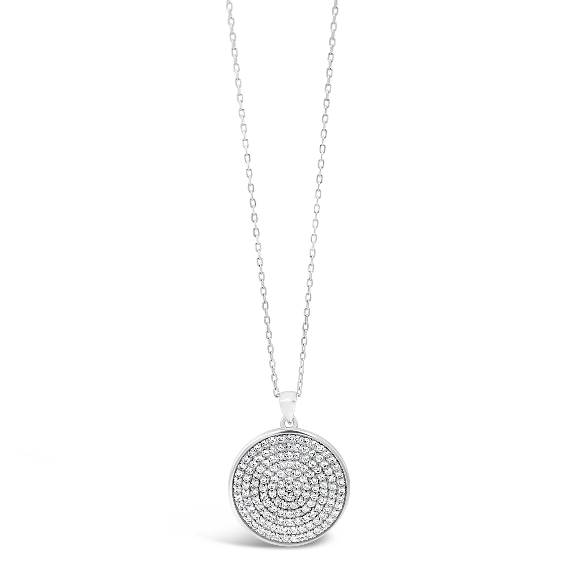 Deborah Circle Sterling Silver Diamante Pendant