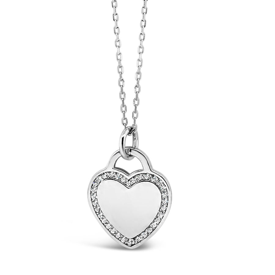 Heart Lock Sterling Silver Diamante Pendant