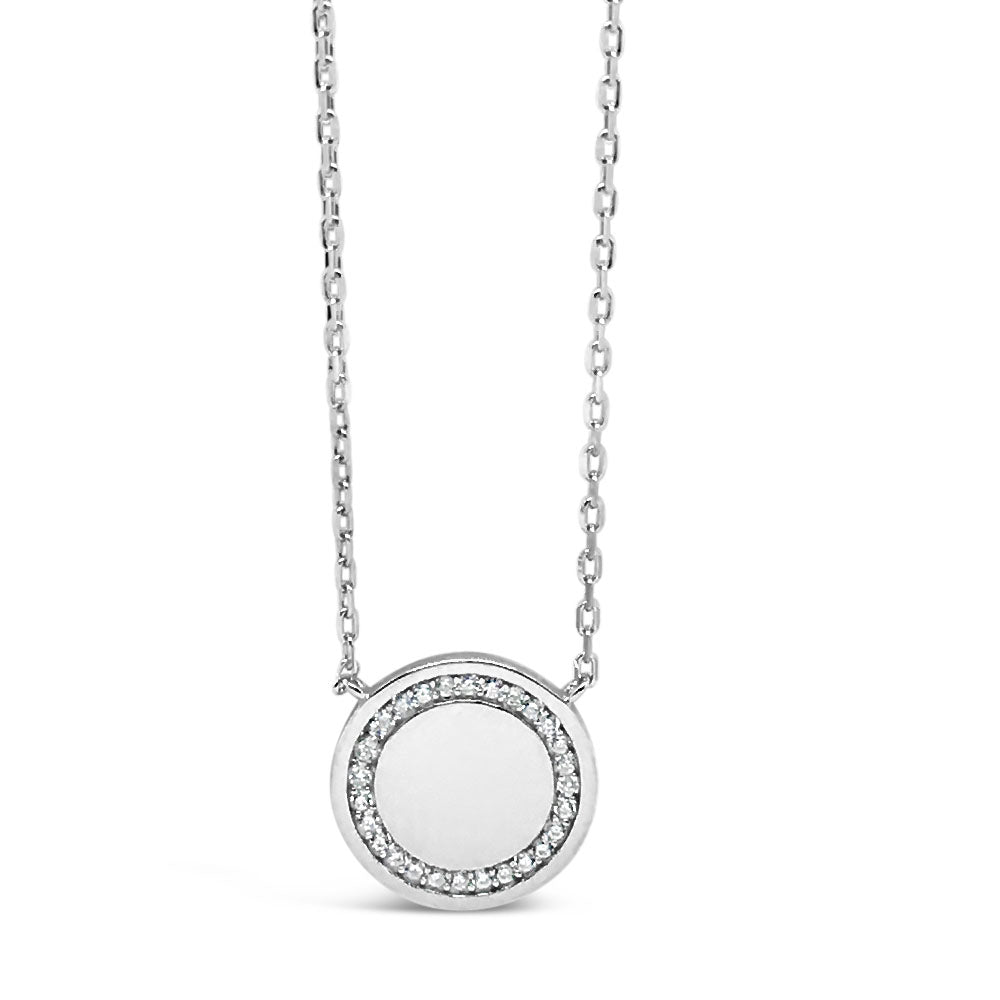Eliza Circle Sterling Silver Diamante Pendant
