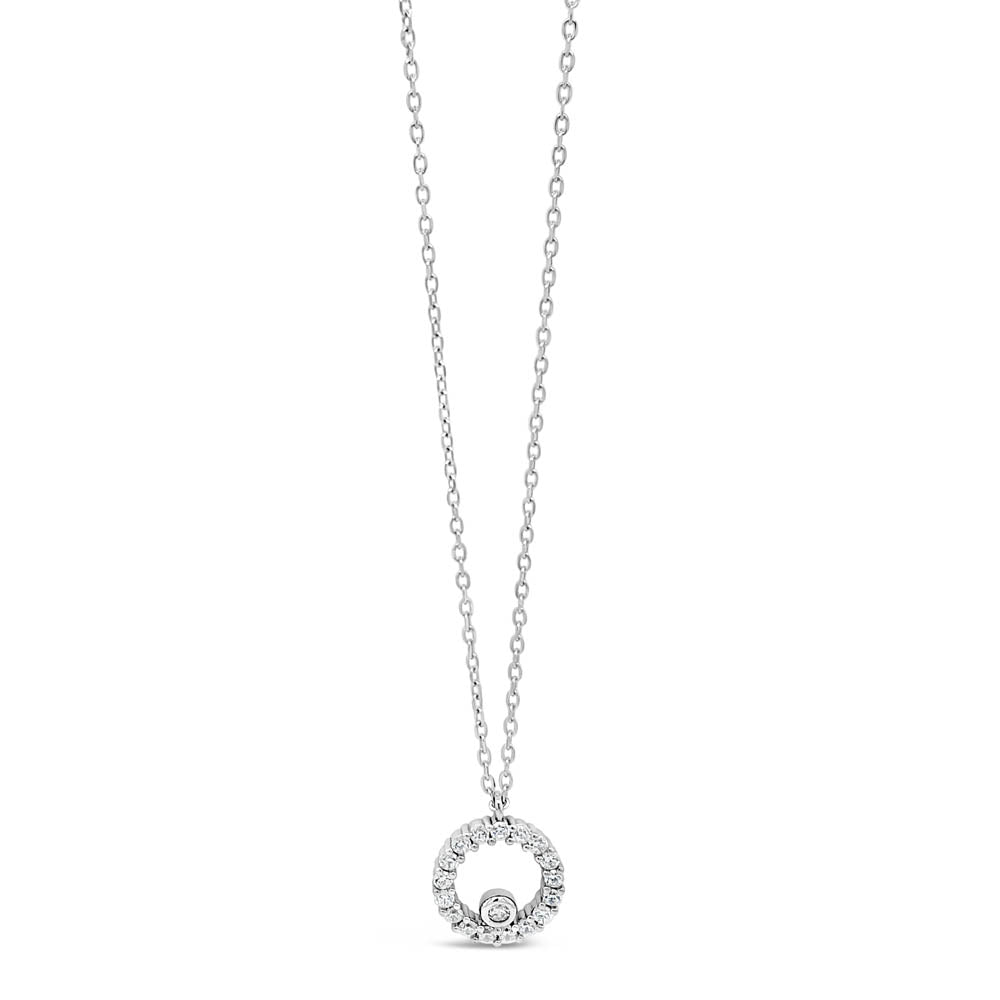 Gianna Inner Circle Sterling Silver Diamante Pendant