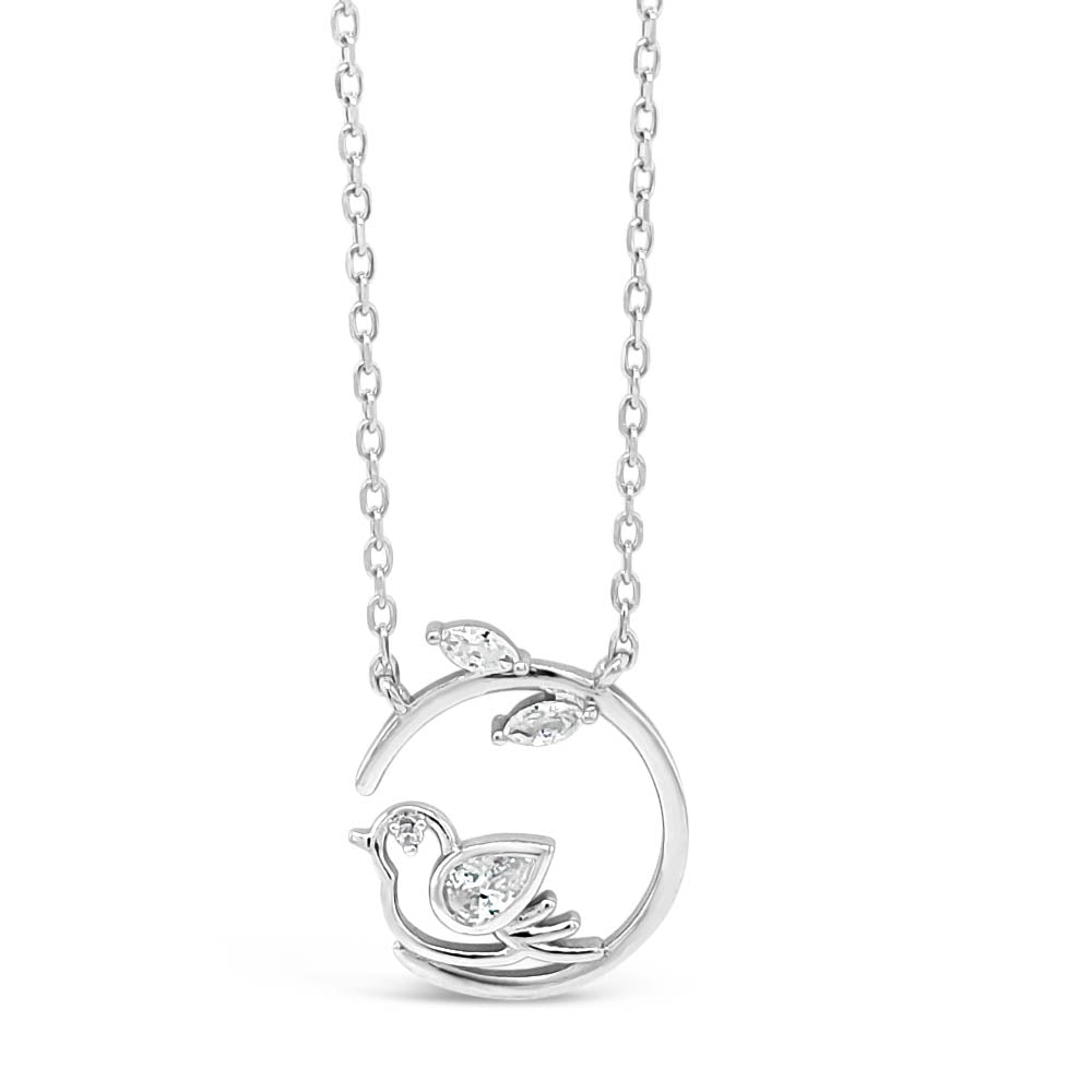 Robin on Branch Sterling Silver Diamante Pendant