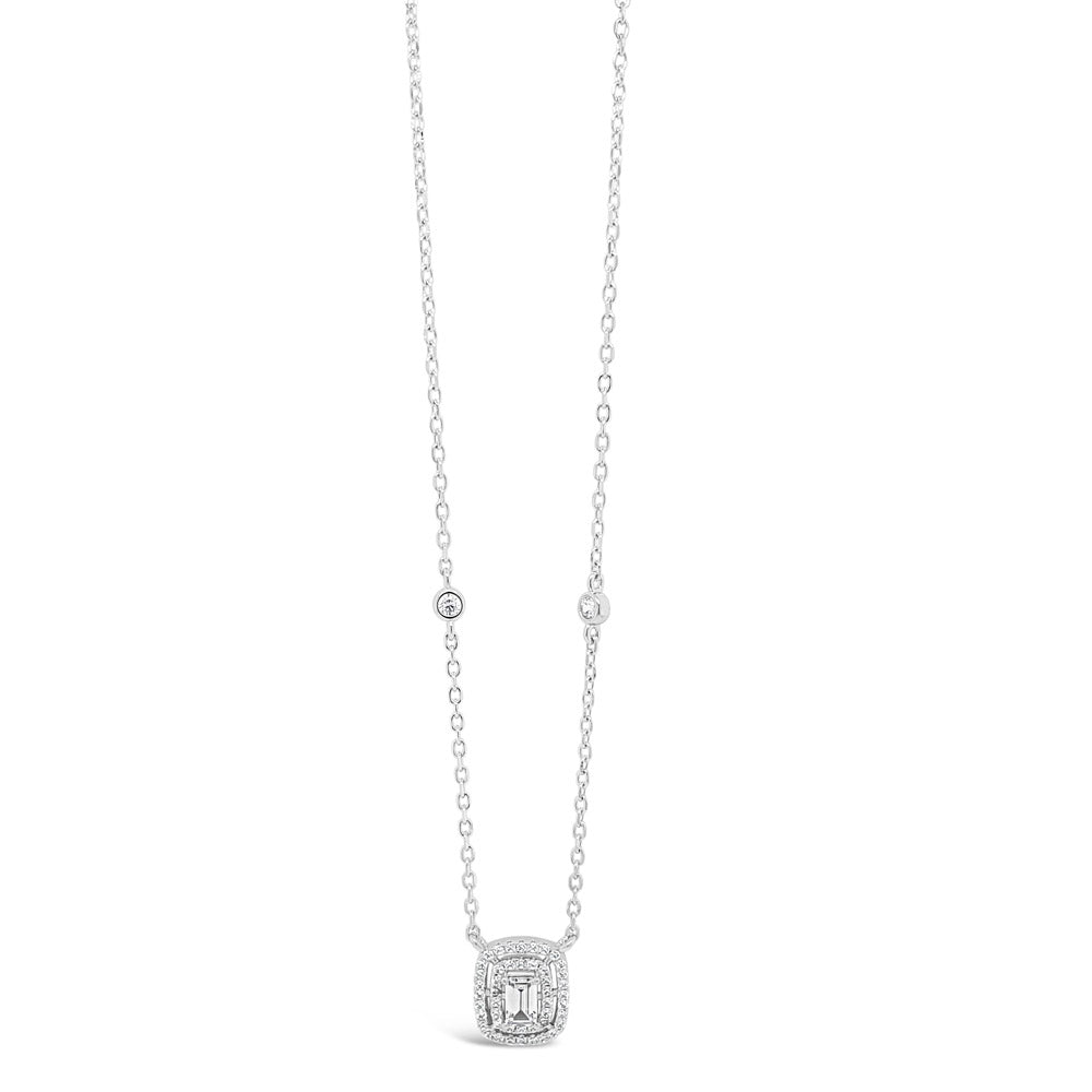 Felicity Rectangle Sterling Silver Diamante Pendant