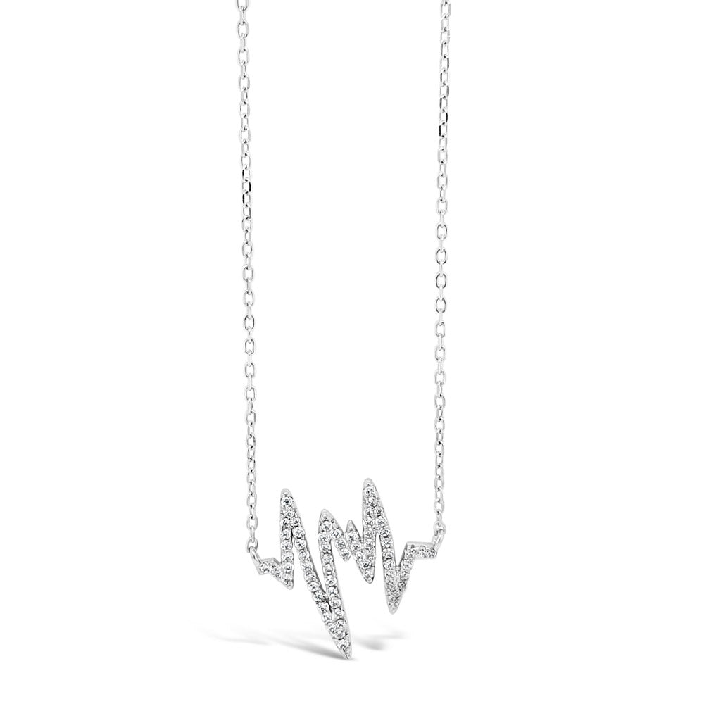 Heartbeat Sterling Silver Diamante Pendant