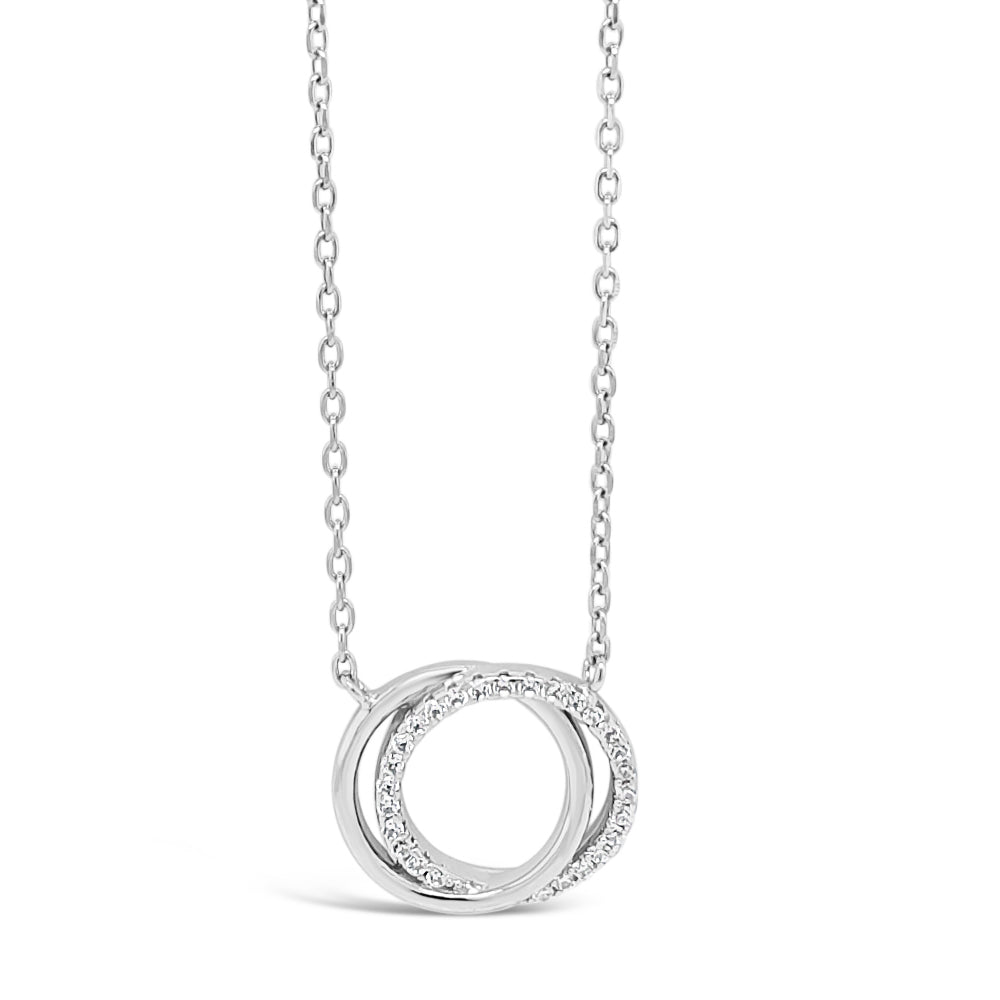 Circles Entwine Sterling Silver Diamante Pendant
