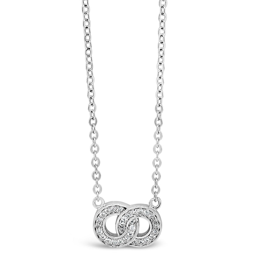 Infinity Two Circles Sterling Silver Diamante Pendant