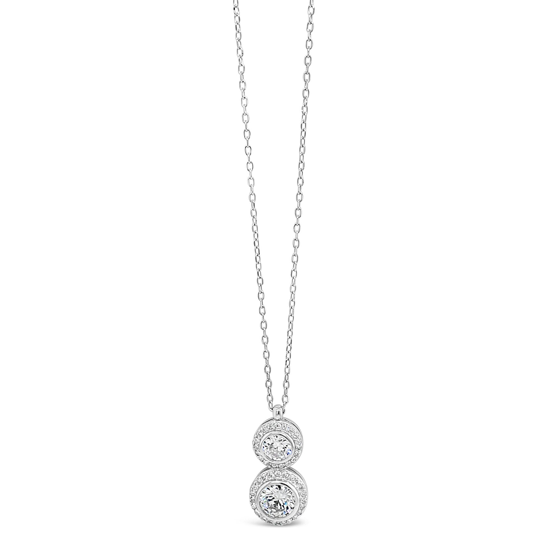 Jasmine Two Circles Sterling Silver Diamante Pendant