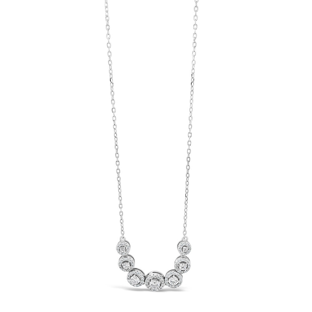 Josie Circles Sterling Silver Diamante Bar Pendant