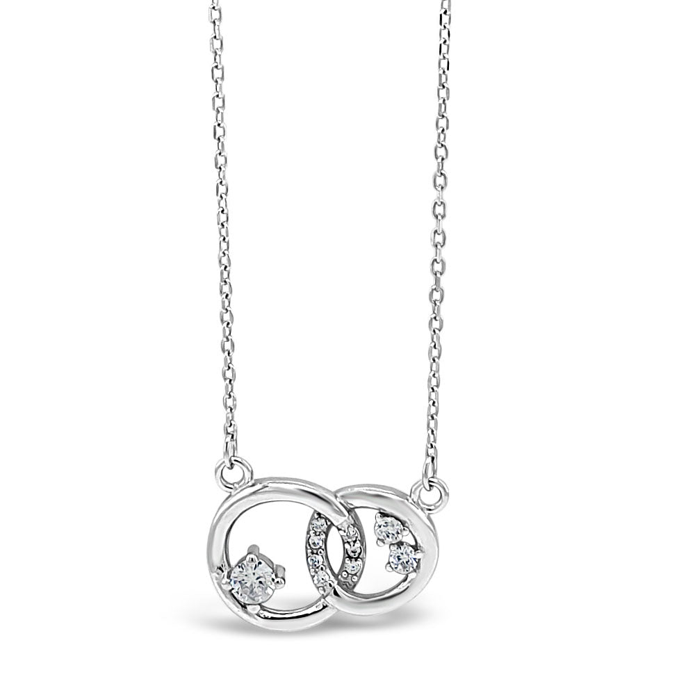 Khloe Two Circles Entwined Sterling Silver Diamante Pendant
