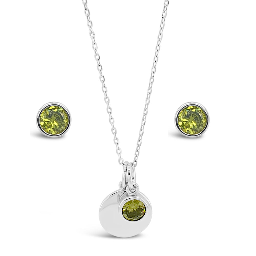 August Birthstone Sterling Silver Pendant And Earrings Set - Eva Victoria