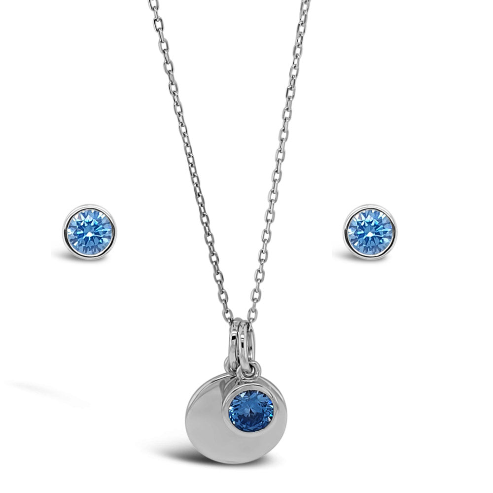 December Birthstone Sterling Silver Pendant And Earrings Set