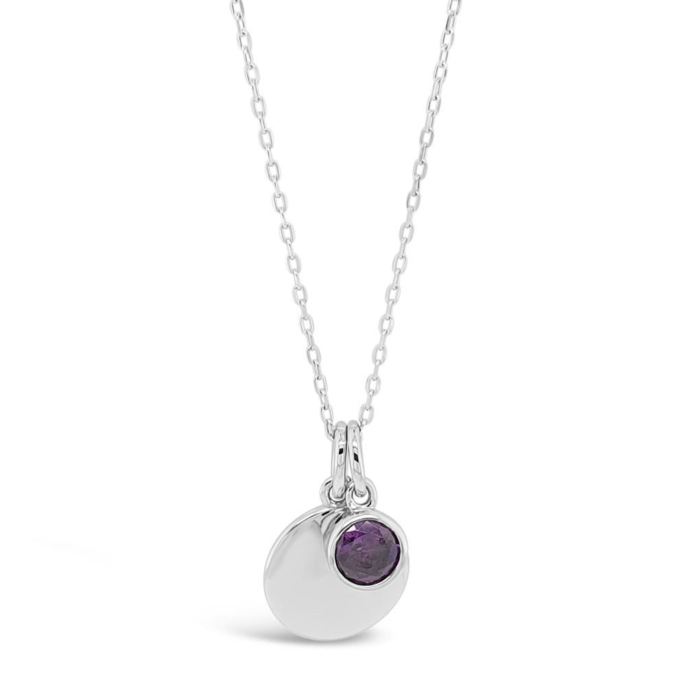 February Birthstone Sterling Silver Pendant