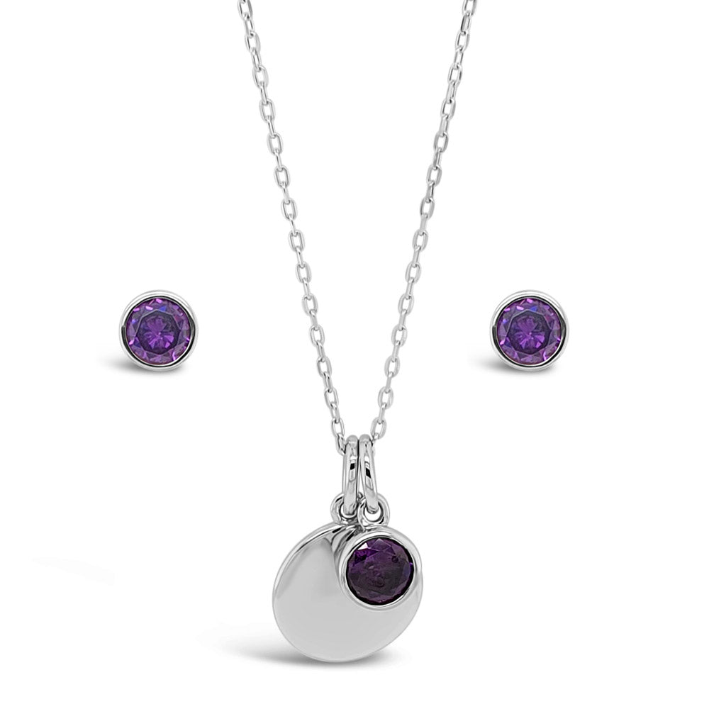 February Birthstone Sterling Silver Pendant And Earrings Set