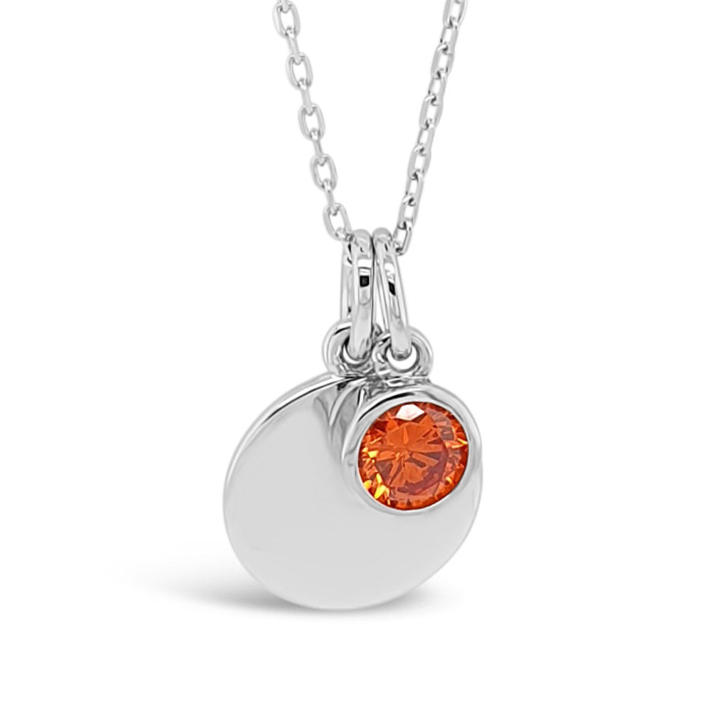 January Birthstone Sterling Silver Pendant