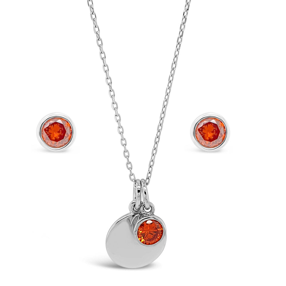 January Birthstone Sterling Silver Pendant And Earrings Set