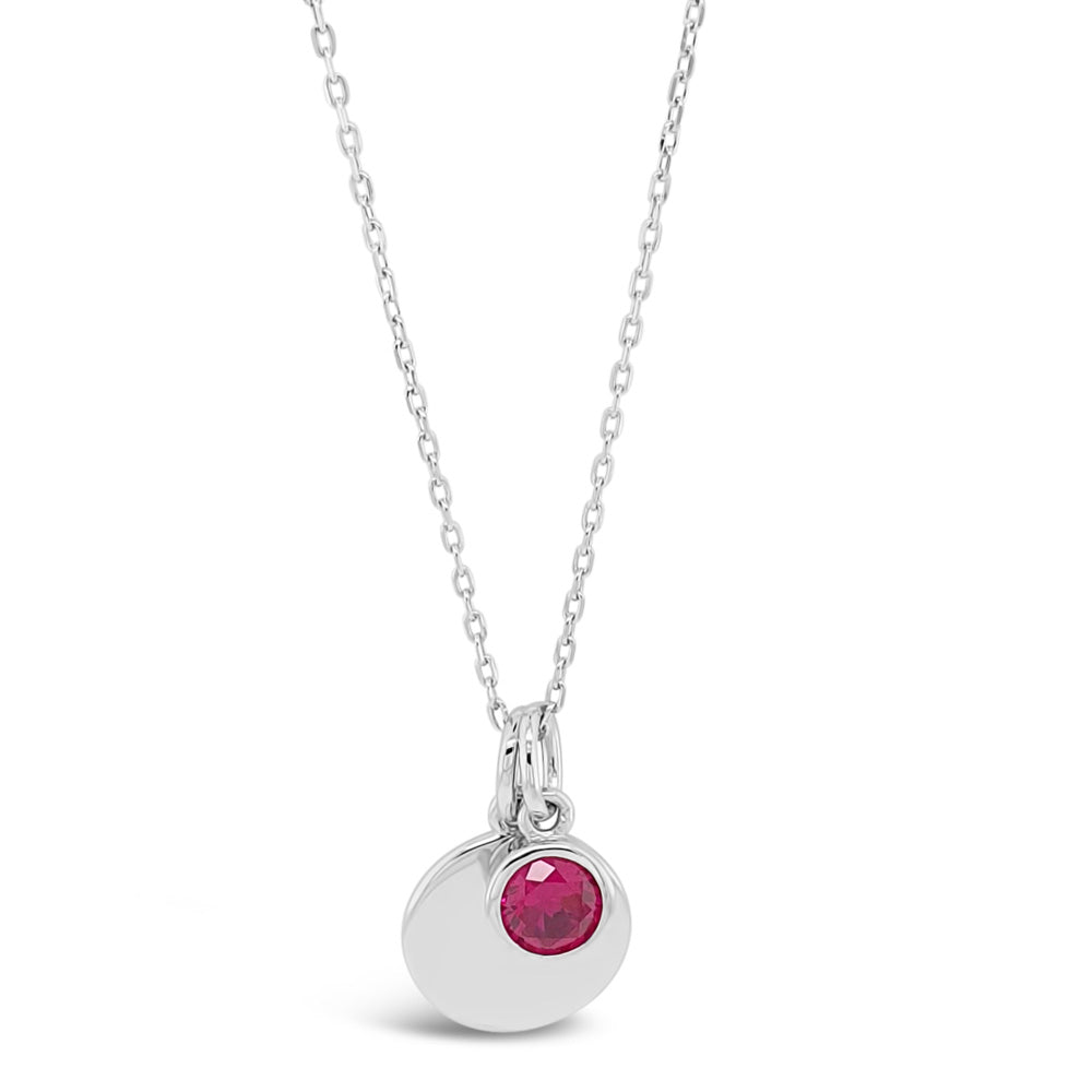 July Birthstone Sterling Silver Pendant