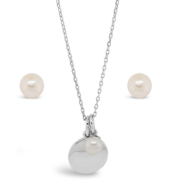 June Birthstone Sterling Silver Pendant And Earrings Set
