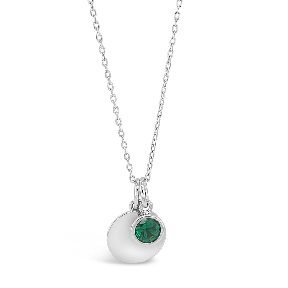 May Birthstone Sterling Silver Pendant