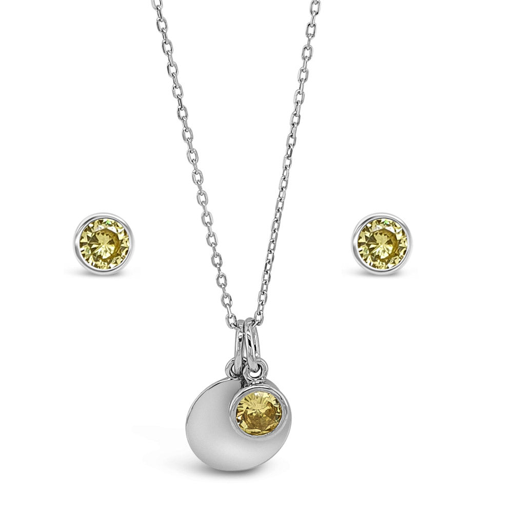 November Birthstone Sterling Silver Pendant And Earrings Set