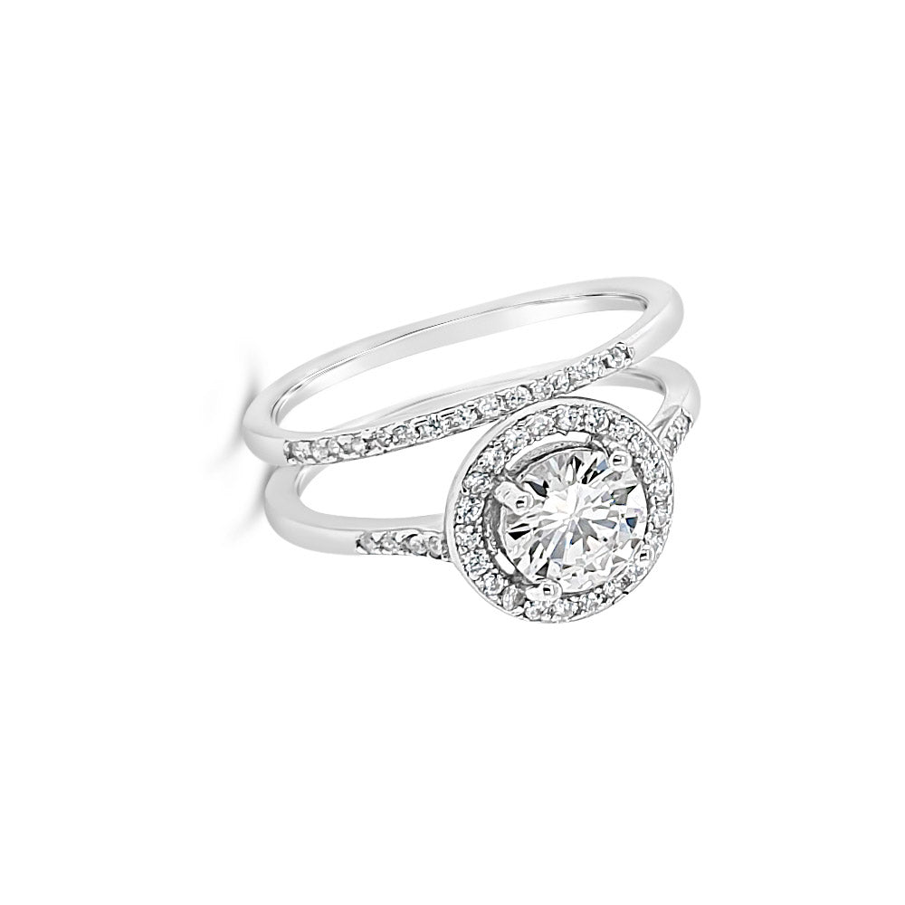 Olga Double Diamante Absolute Sterling Silver Ring