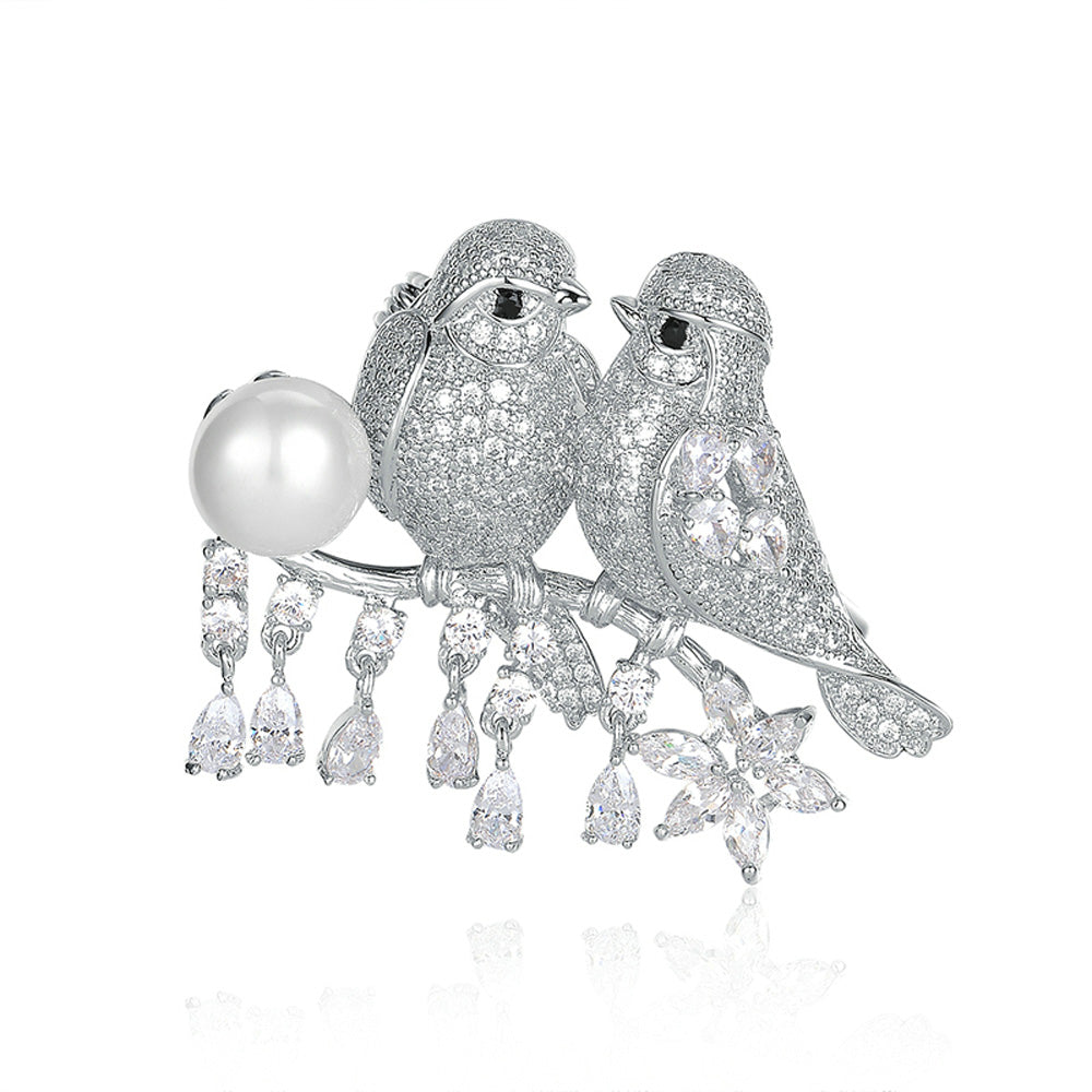 Love Birds Diamante Pearl Pin Brooch