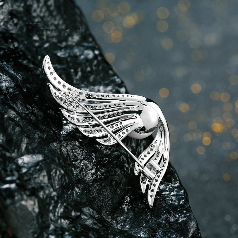 Angel Wing Silver Pearl Diamonte Brooch