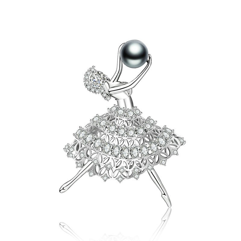 Ballerina Diamante Pearl Pin Brooch