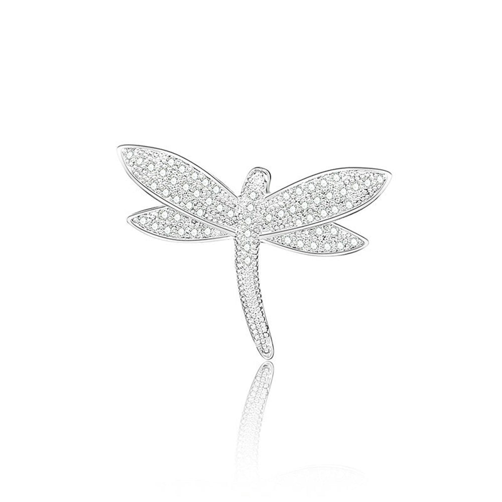 Dragonfly Crystal Clear Diamante Brooch