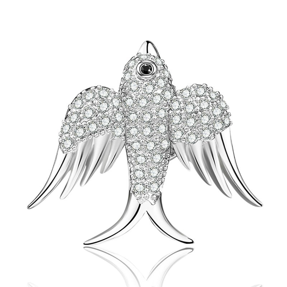 Dove of Peace Crystal Clear Diamante Silver Brooch