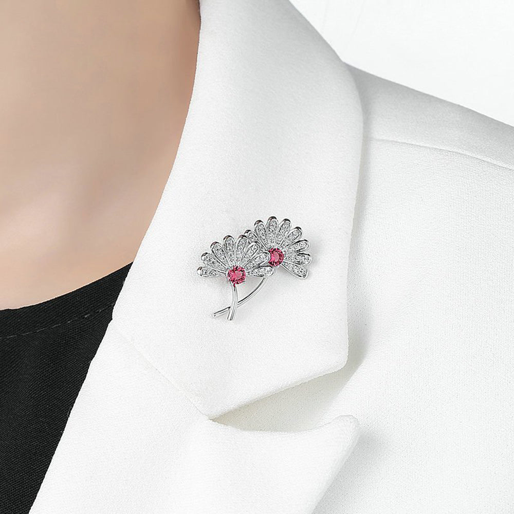 Cherry Blossom Garnet Diamante Pin Brooch
