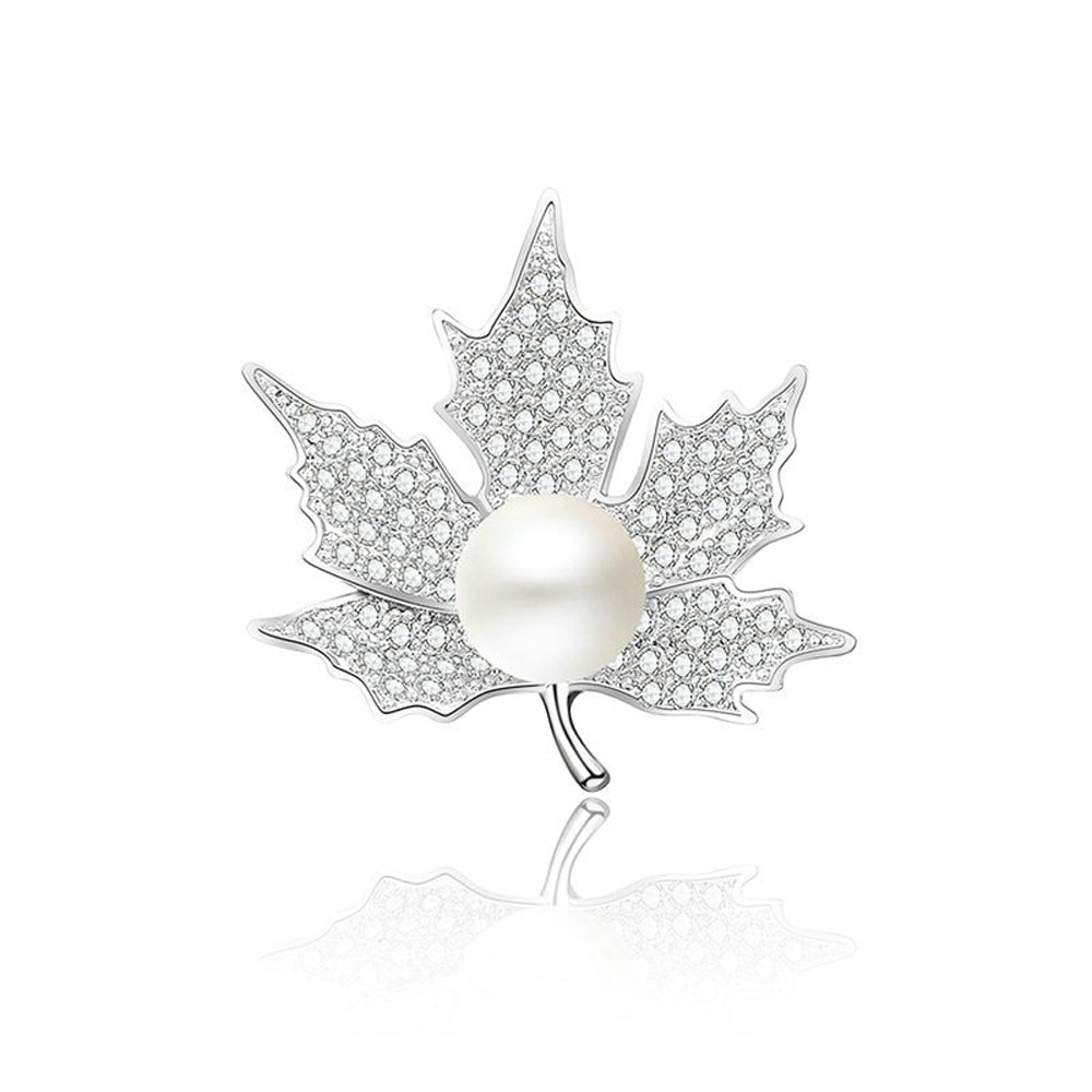 Maple Leaf Diamante Pearl Silver Brooch