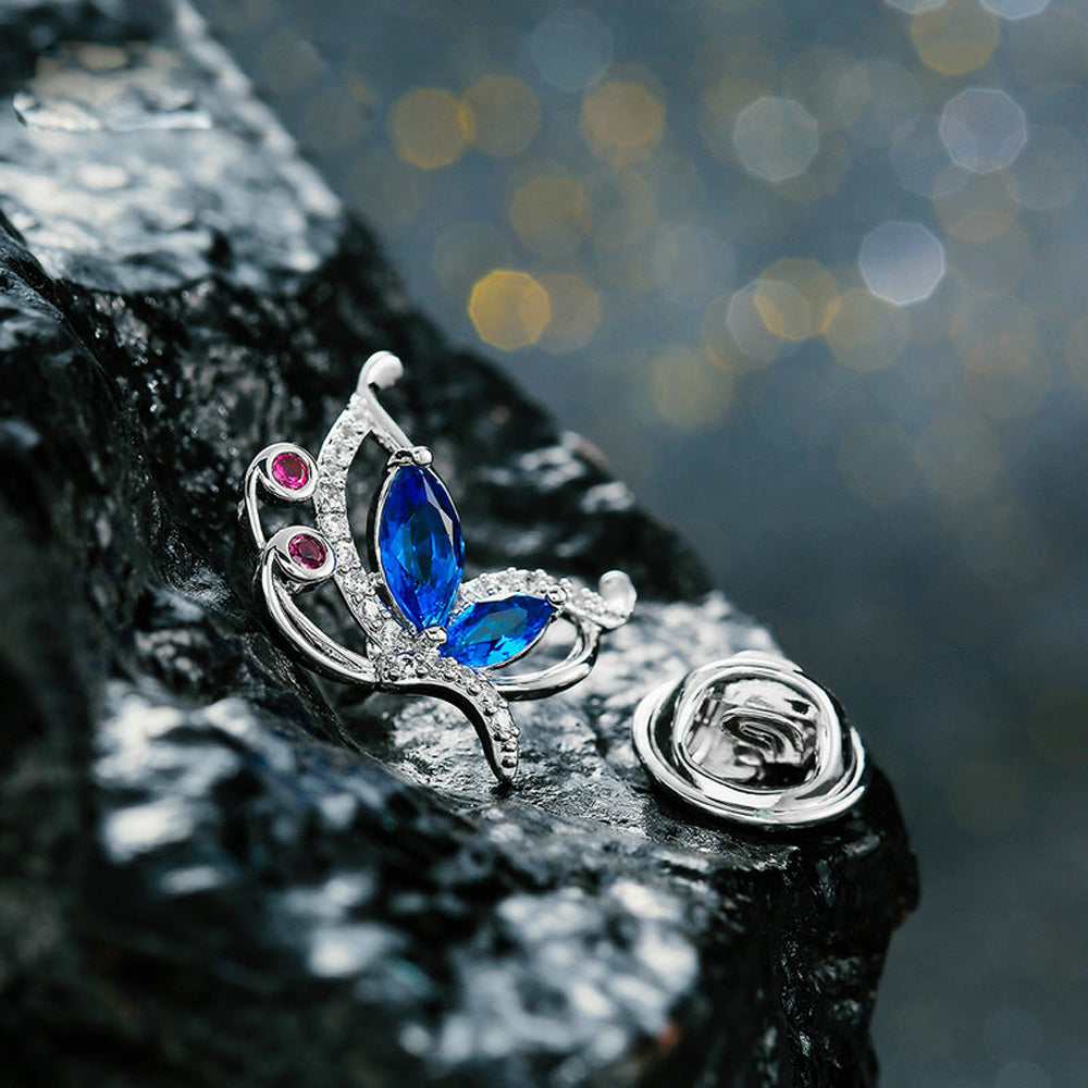 Butterfly Garnet Blue Zircon Diamante Brooch