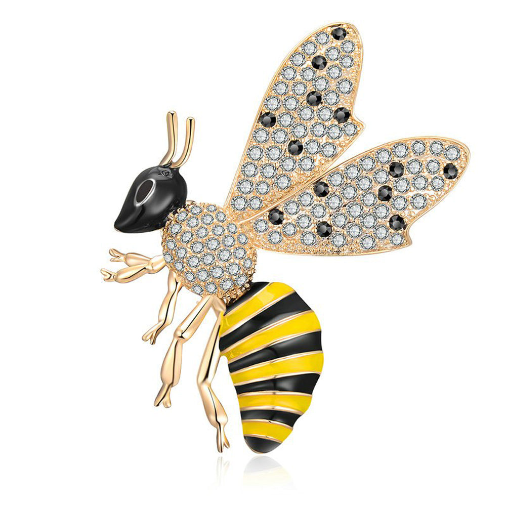 Queen Bee Gold Black Crystals Enamel Brooch