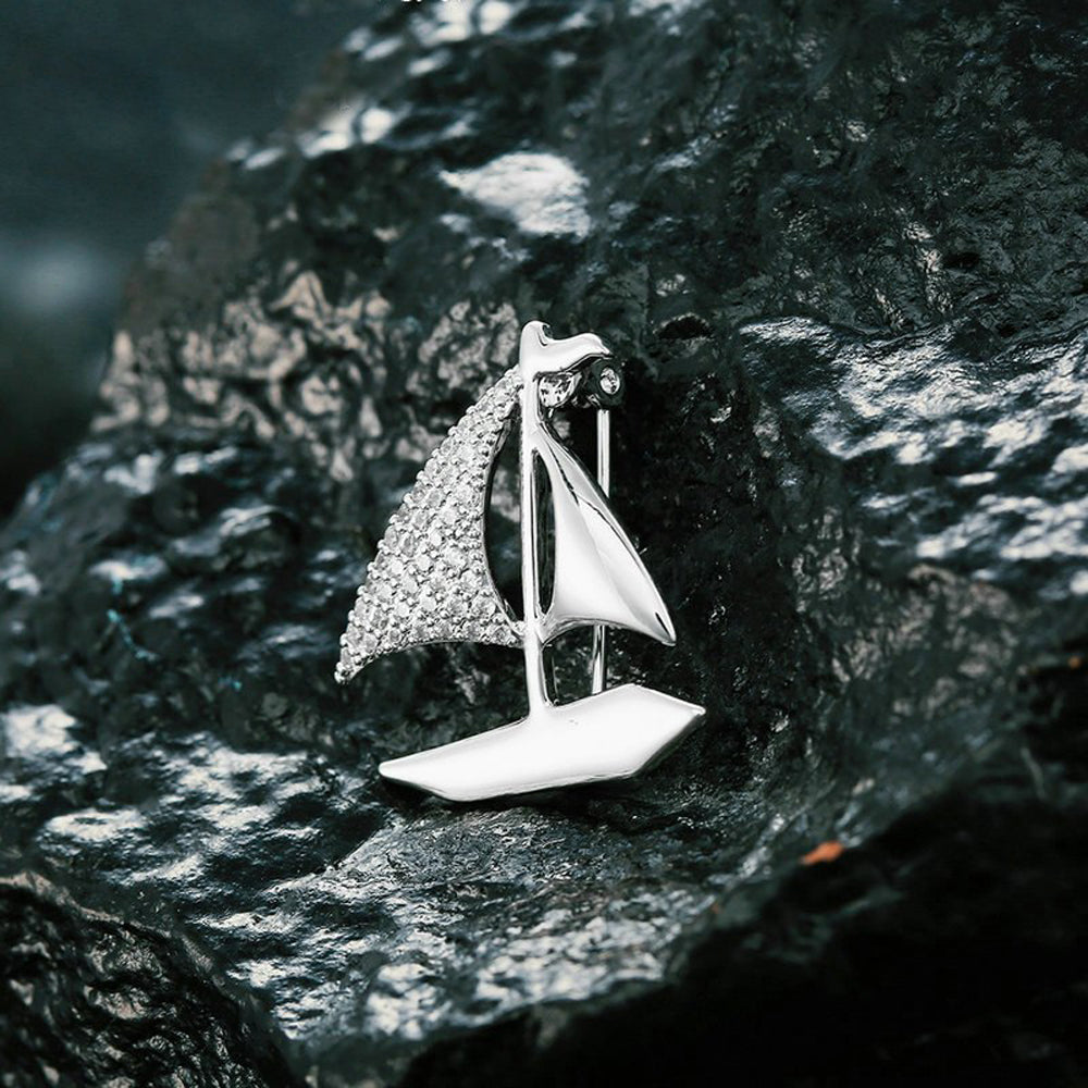 Sail Away Crystal Clear Diamante Silver Brooch