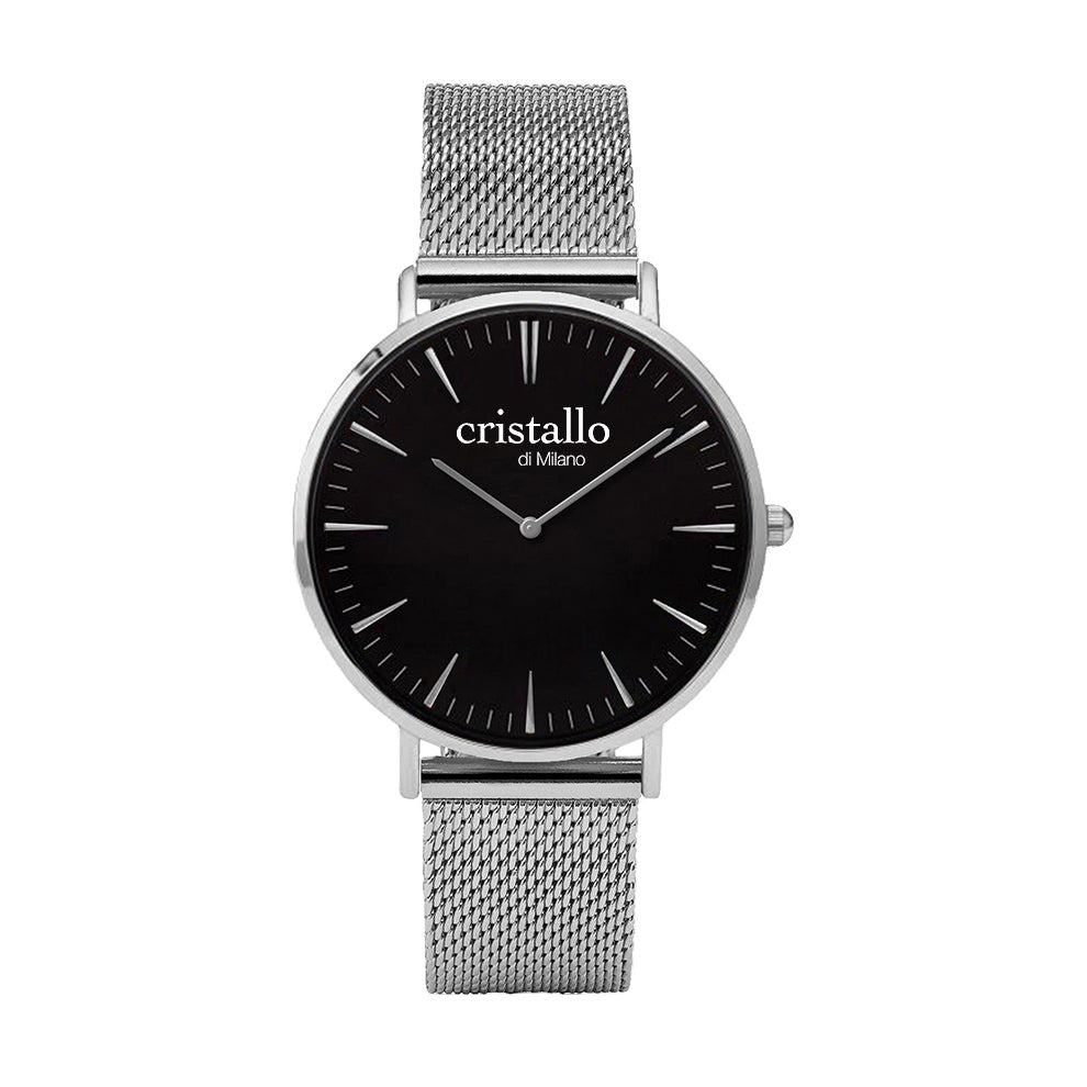 Noir Bohemian Black On Silver Mesh Strap