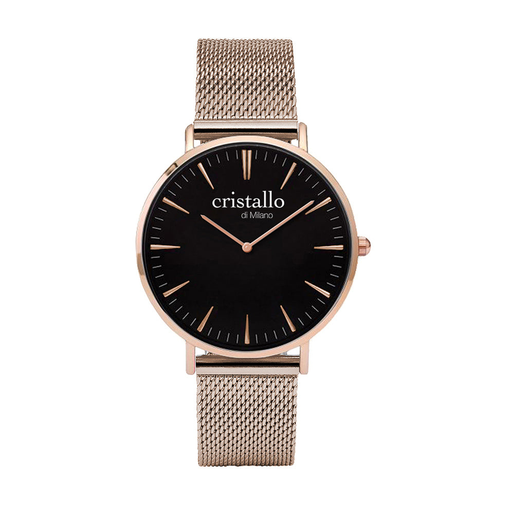 Noir Bohemian Black On Rose Gold Mesh Timepiece