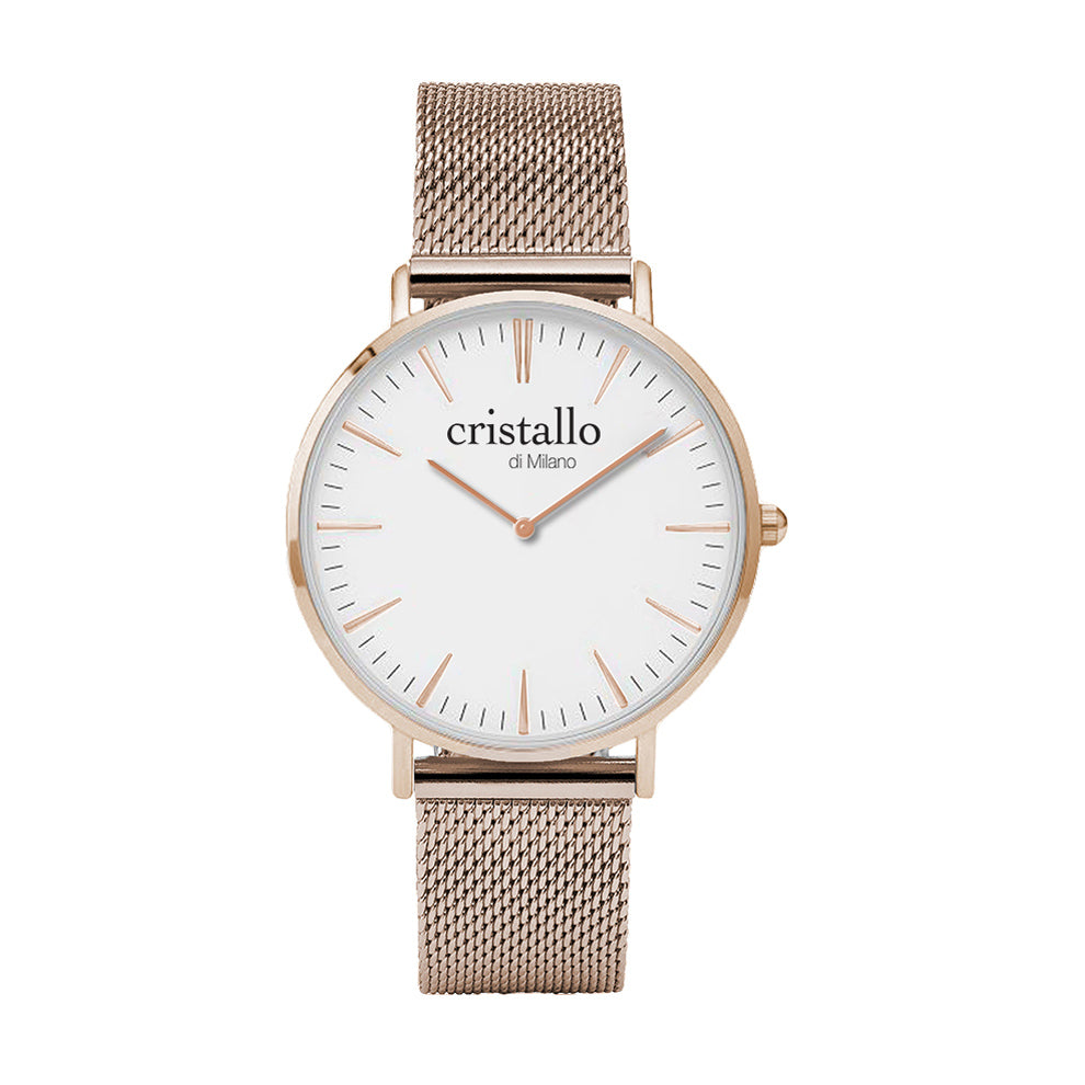 Bohemian White on Rose Gold Mesh Strap