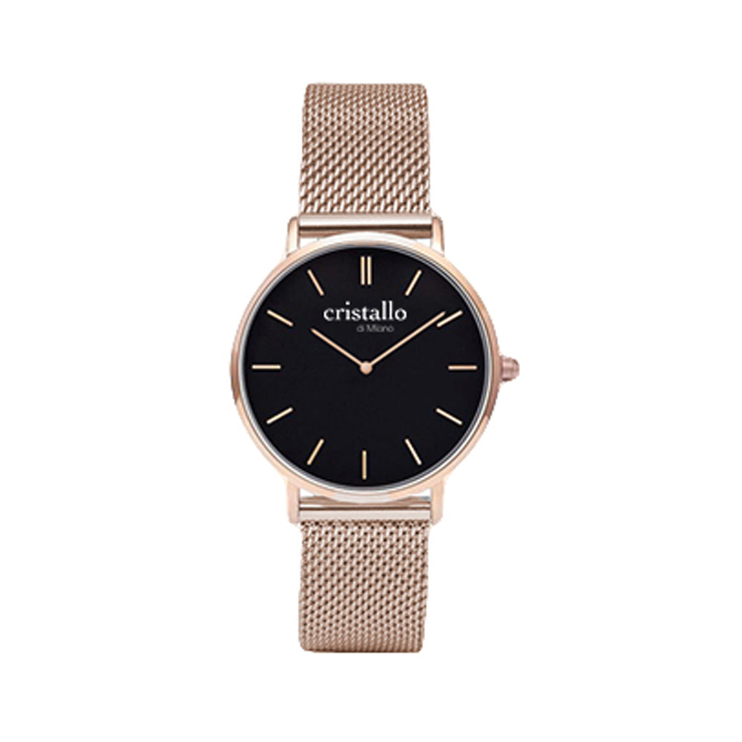 Little Noir Bohemian Black On Rose Gold Mesh Strap