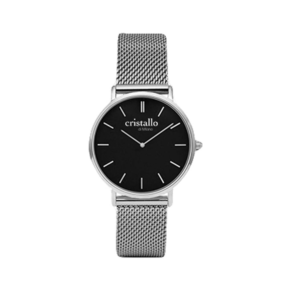 Little Noir Bohemian Black On Silver Mesh Strap