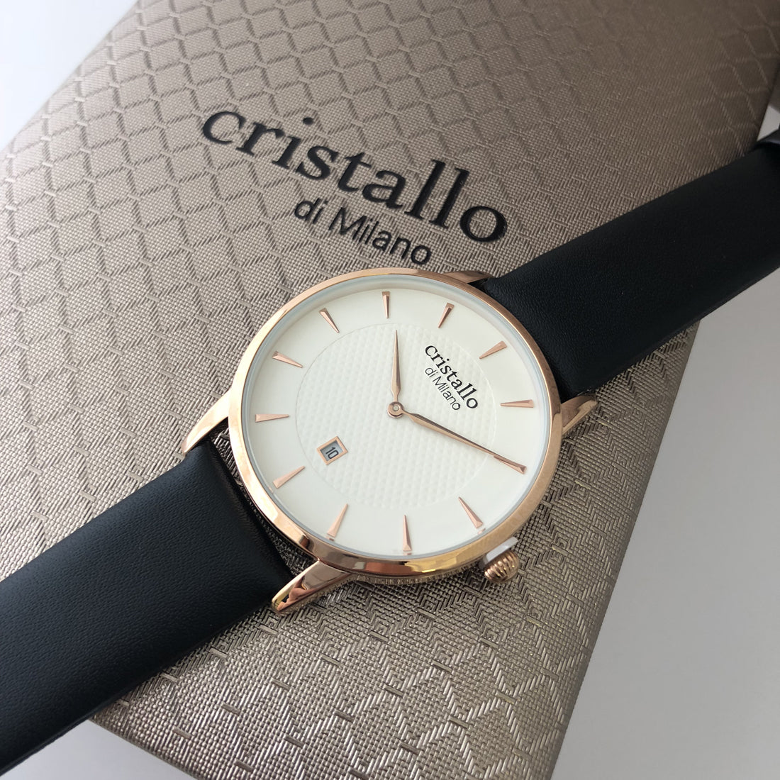 Dapper Bohemian White On Black In Rose Gold