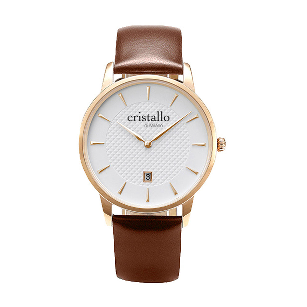 Dapper Bohemian White On Brown In Rose Gold