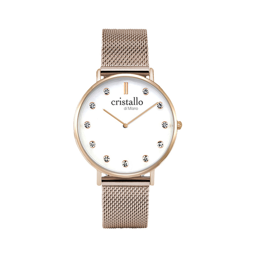 Little Pave White on Rose Gold Mesh Strap with Sparkle