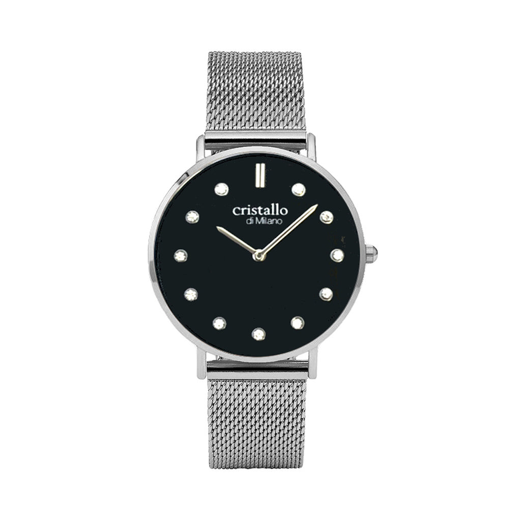 Little Noir Pave Black on Silver Mesh Strap with Sparkle