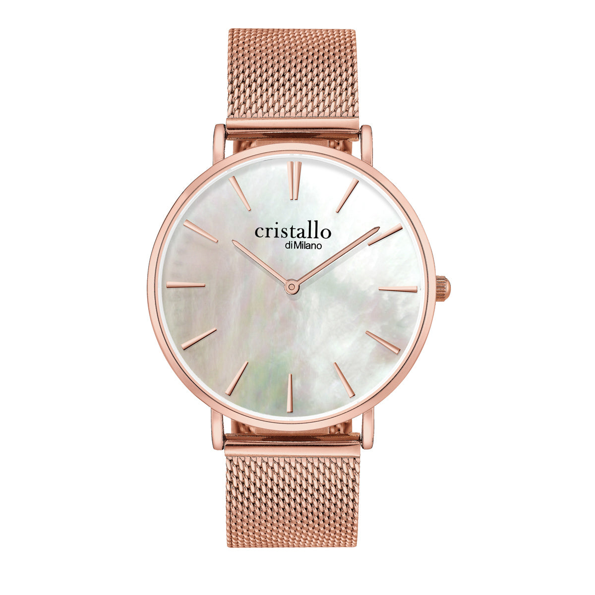 Little Pearl White on Rose Gold Mesh Strap