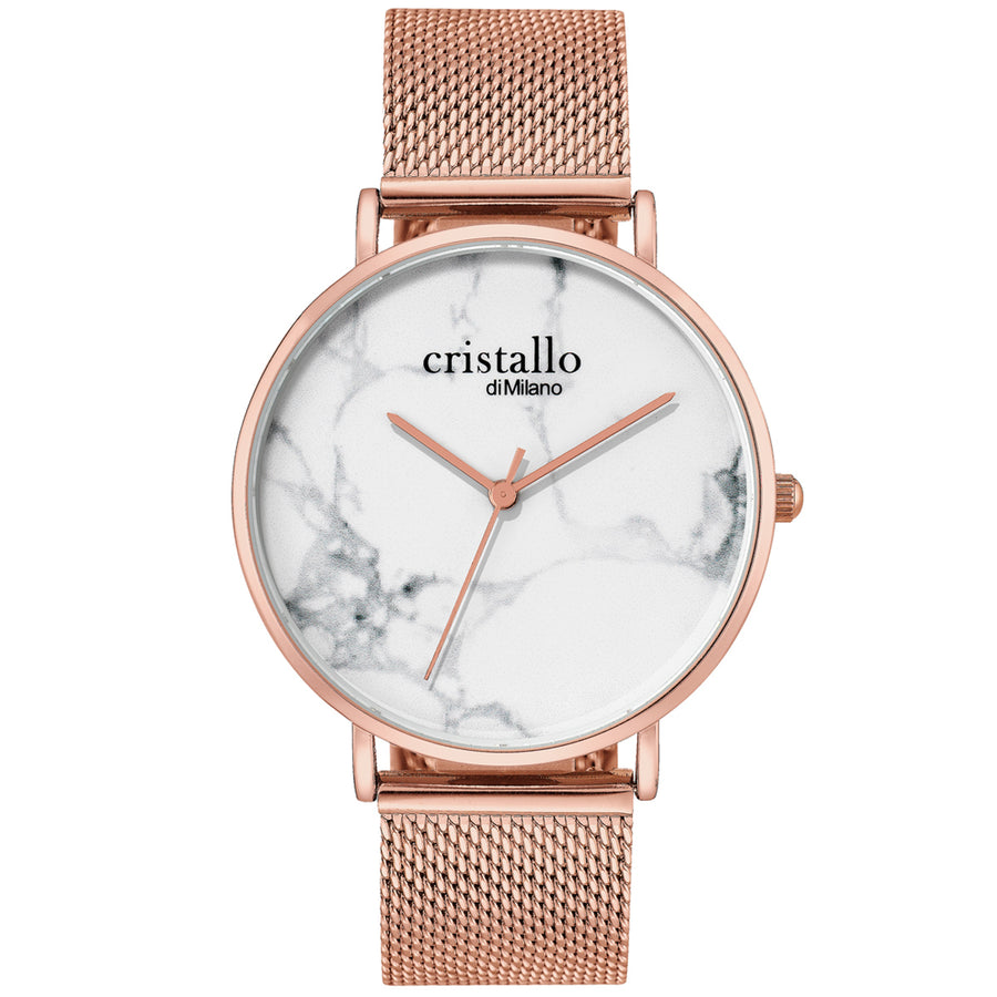 Roche Marble White on Rose Gold Mesh Strap