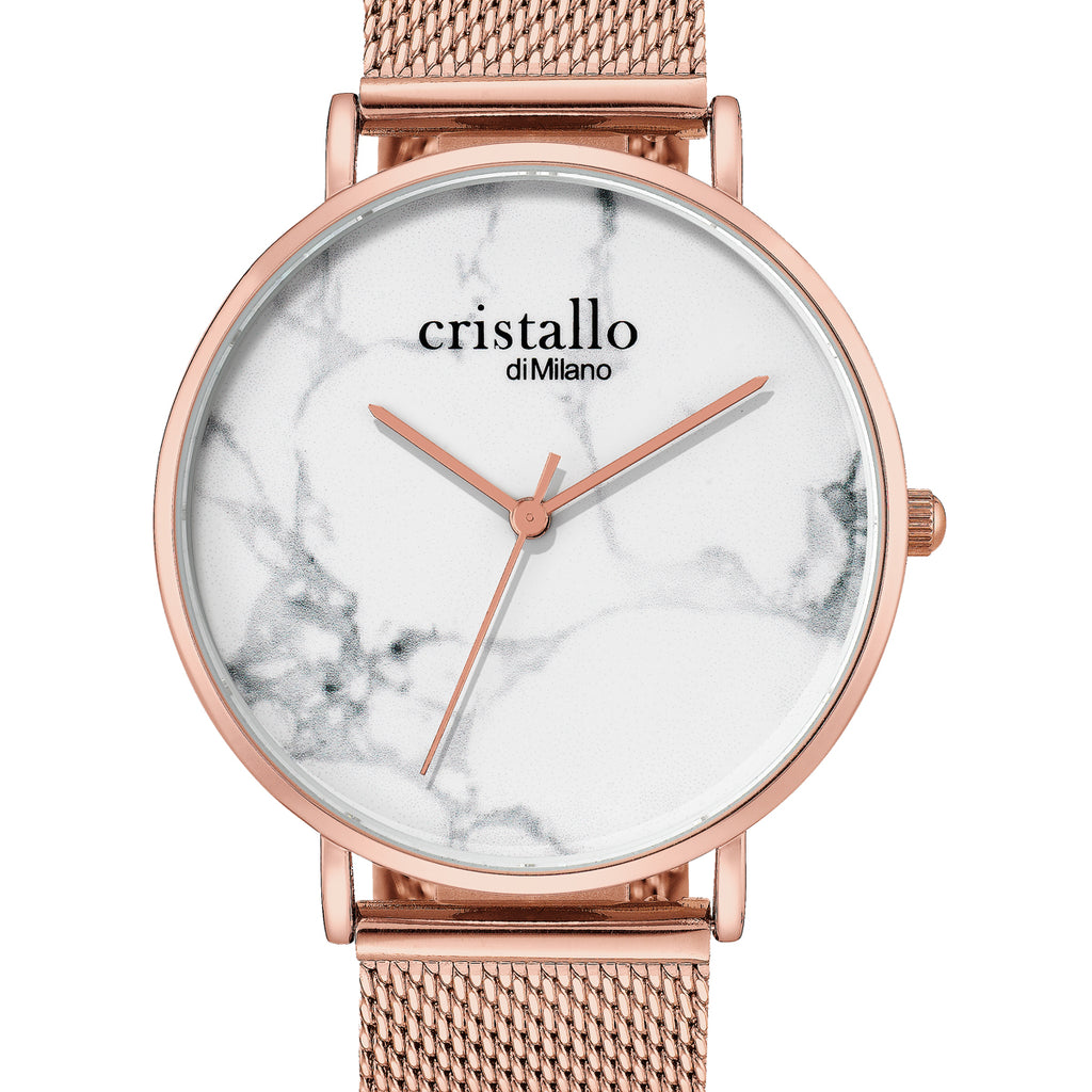 Little Roche Marble White on Rose Gold Mesh Strap