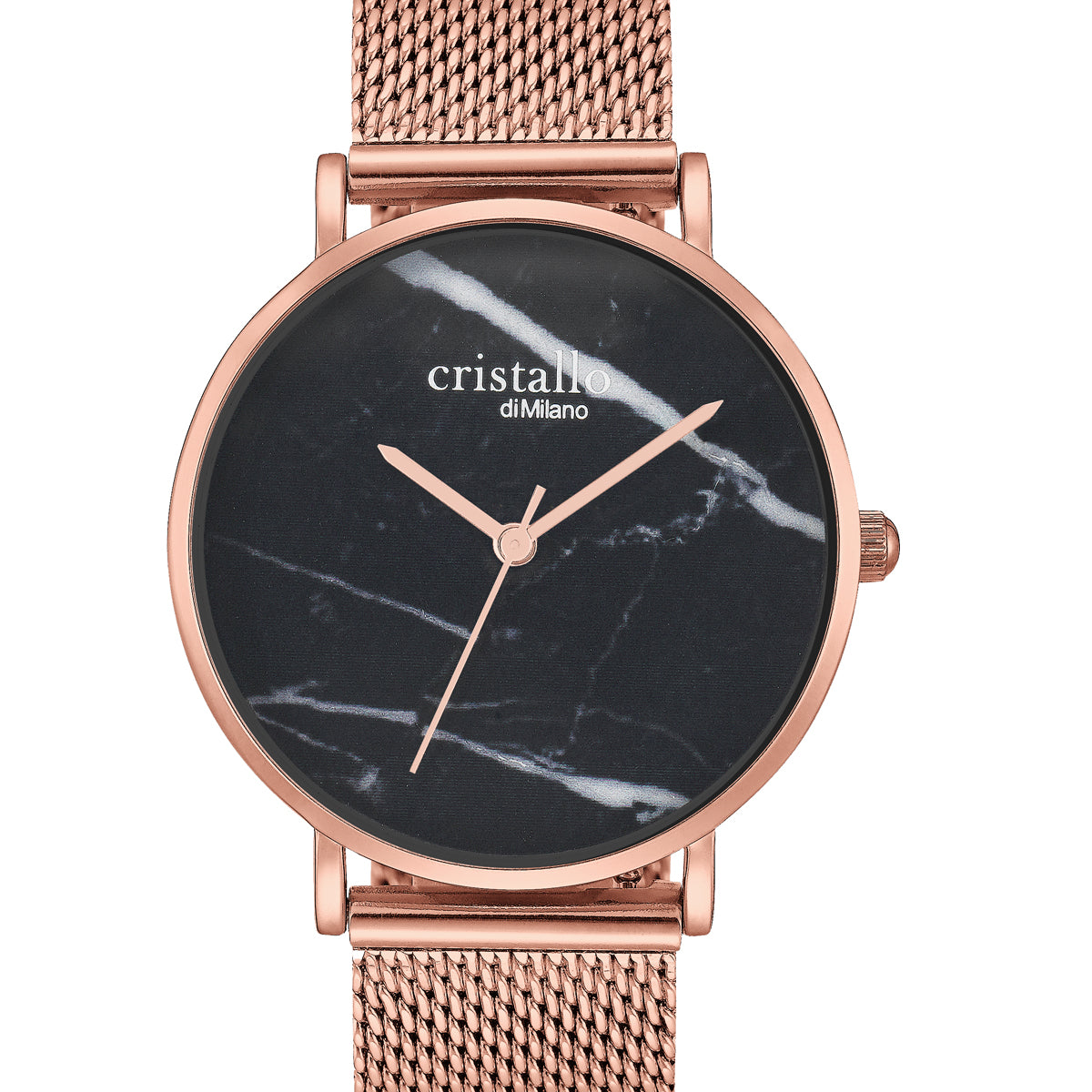 Roche Marble Black On Rose Gold Mesh Strap