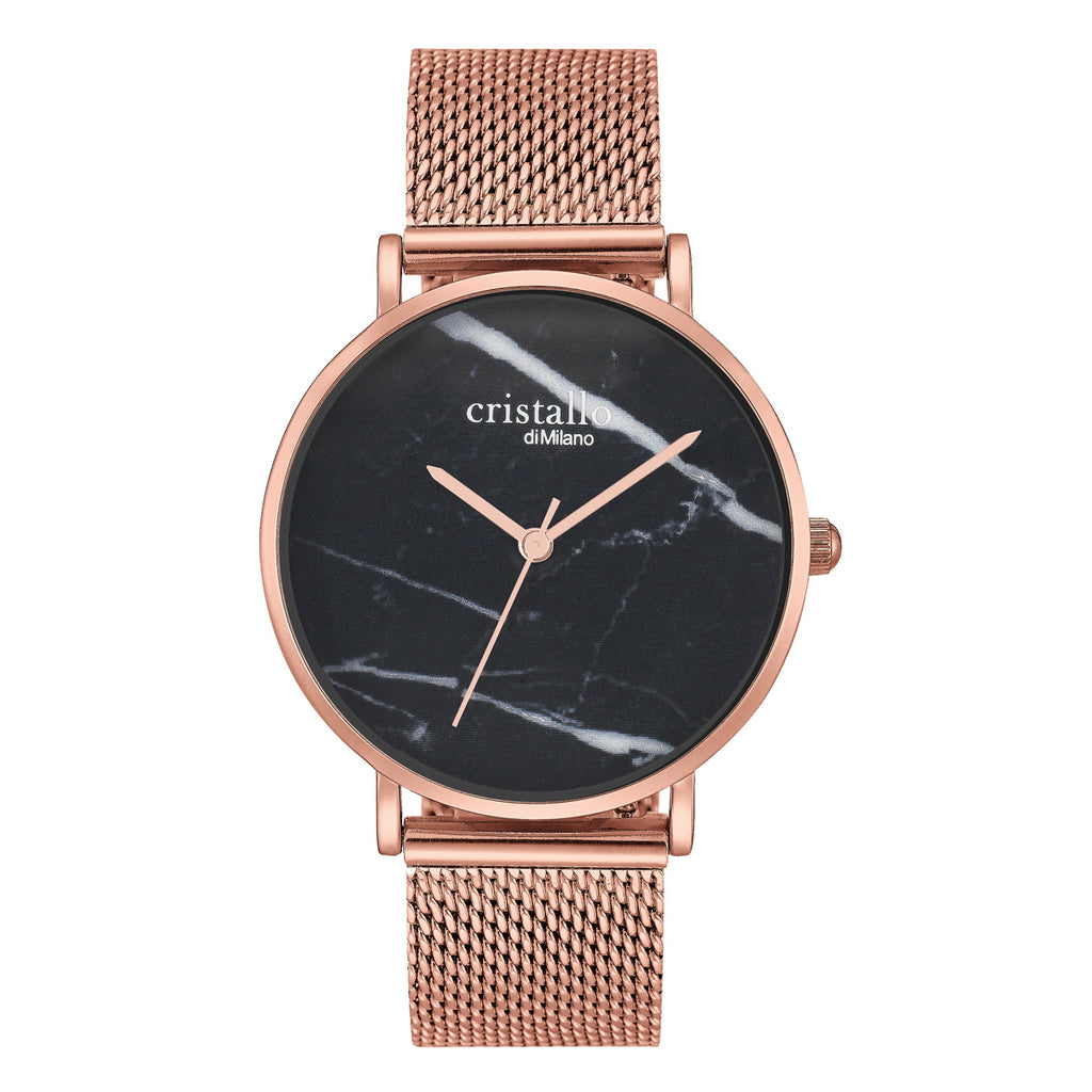 Little Roche Marble Black On Rose Gold Mesh Strap