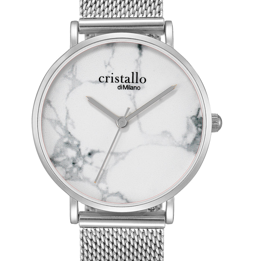Little Roche Marble White on Silver Mesh Strap